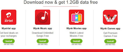 Get 1.2GB data free From Airtel