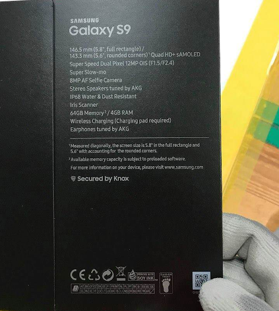 Samsung Galaxy S9 Specifications, Retail Box Leaked