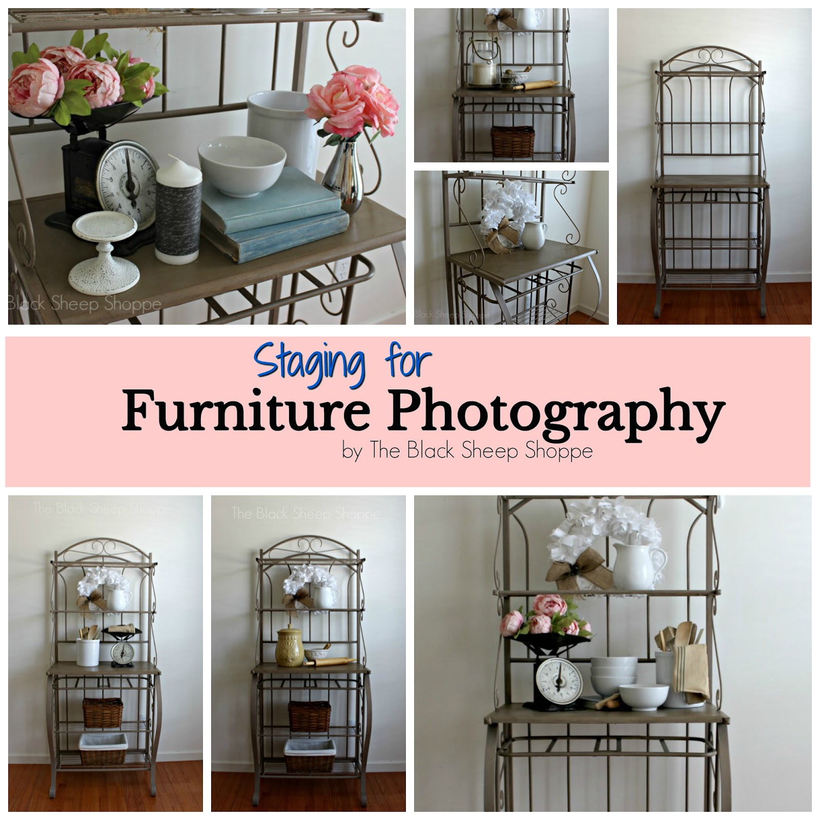 The process of staging furniture for photography.