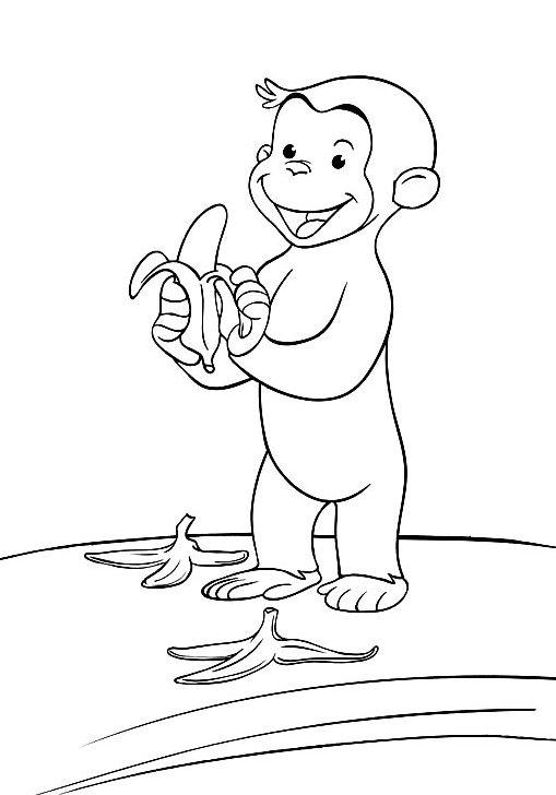 Gambar Mewarnai Gambar Tokoh Kartun Curious George Si Monyet Yang