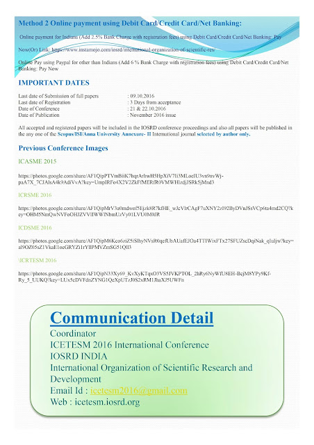 ICETESM 2016:7th International Conference on Emerging Techniques in Engineering Science and Management Oct 21-22, 2016