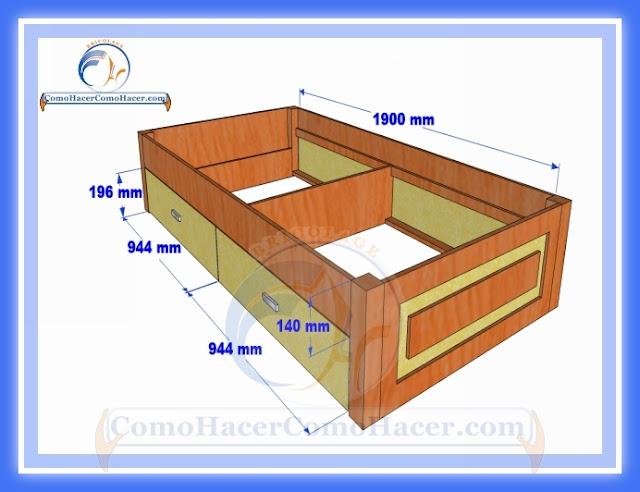 C mo hacer una cama medidas plano gu a construcci n web for Cama 3 4 medidas