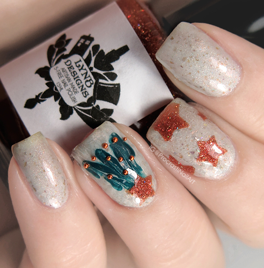 Nail Art A Successful Drag Marble Winter Tree Accent Nail