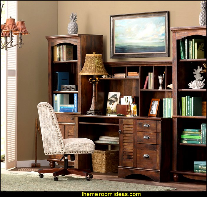 Tropical Office Furniture Decorating Study Desk Den Chairs