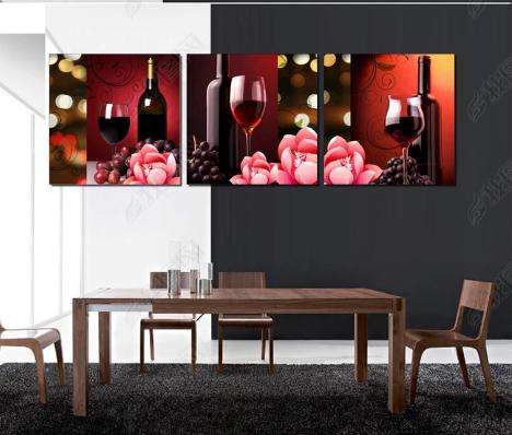 Tranh bộ 3 treo tường rượu nho hiện đại