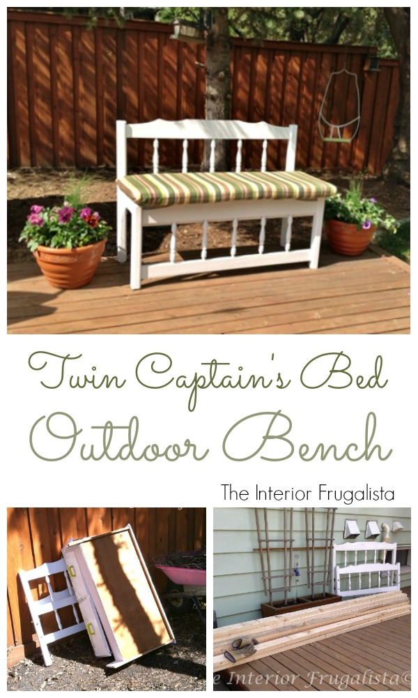 Twin Captain's Bed Turned Outdoor Bench