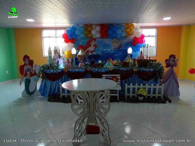 Decoração infantil para festa A Pequena Sereia (Ariel) -  mesa de festa infantil decorada na Barra - RJ