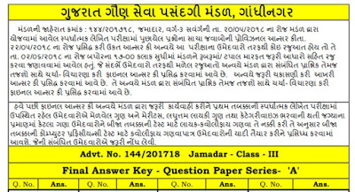 GSSSB Head Constable (Jamadar) Final Answer Key, Result, Cut off, Merit List 2018 ojas