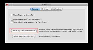 Reset Default Keychain-Safari Keychain Pop up