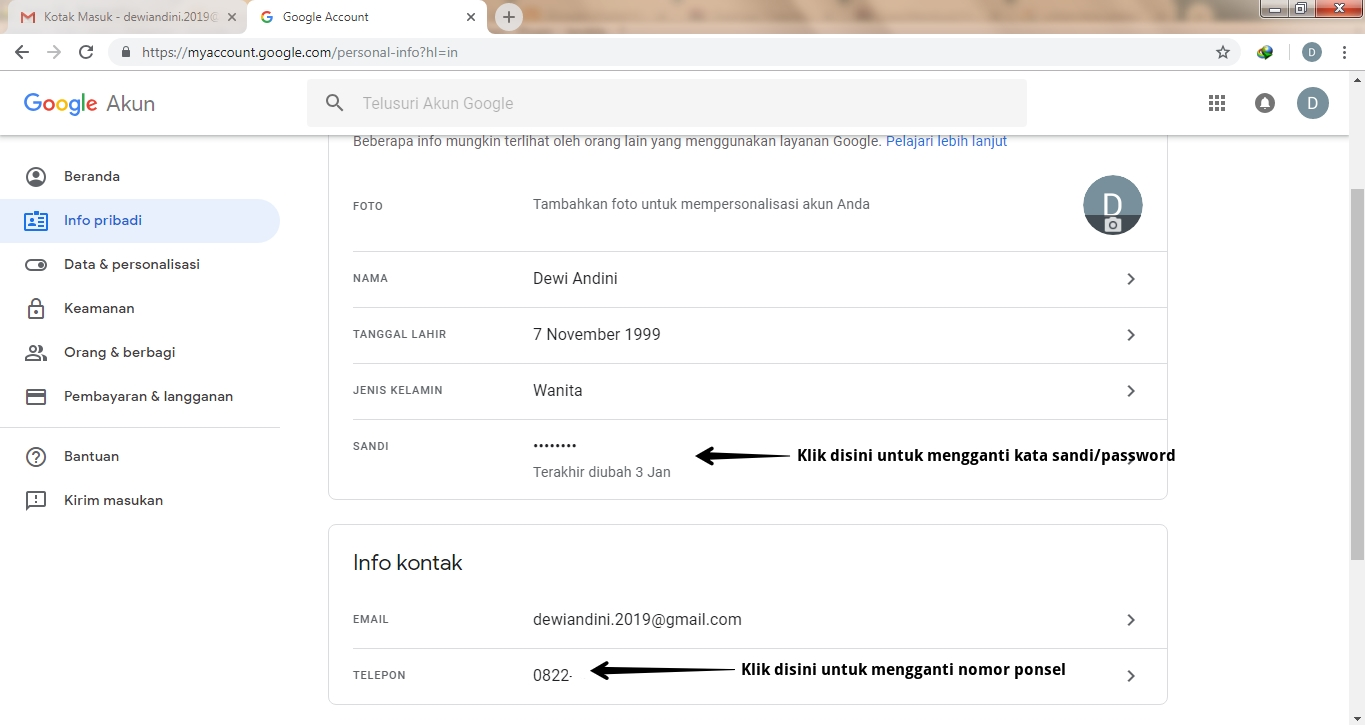 Mengganti Password Akun Email