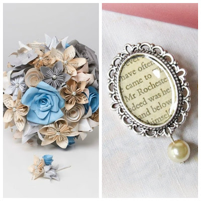 book page bouquet boutonniere brooch bouquet pin handmade
