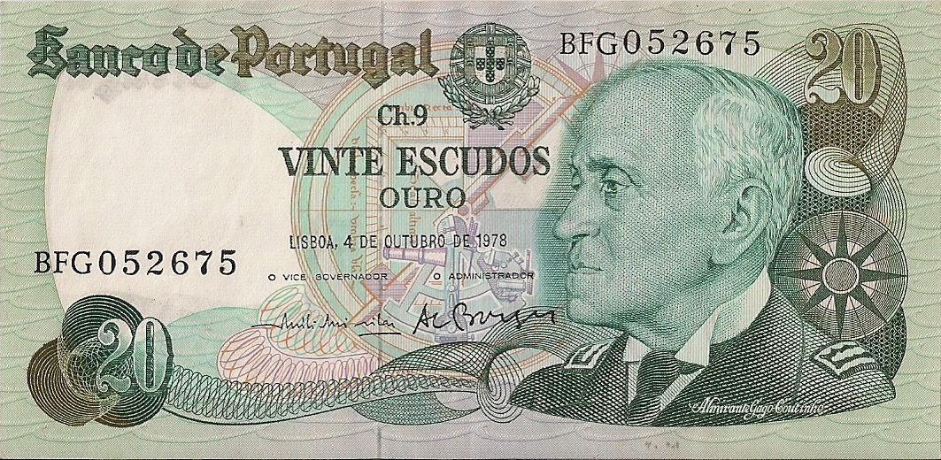 Portugal Banknotes 20 Escudos banknote 1978 Admiral Gago Coutinho