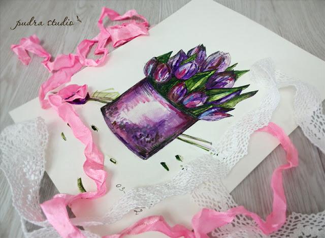 akvarelė, gėlės