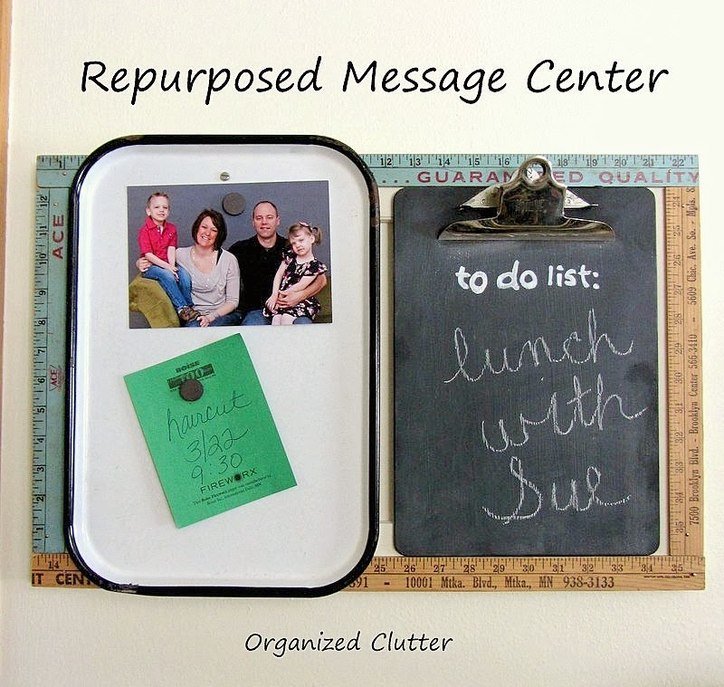 Re-purposed Cabinet Door Message Center www.organizedclutterqueen.blogspot.com