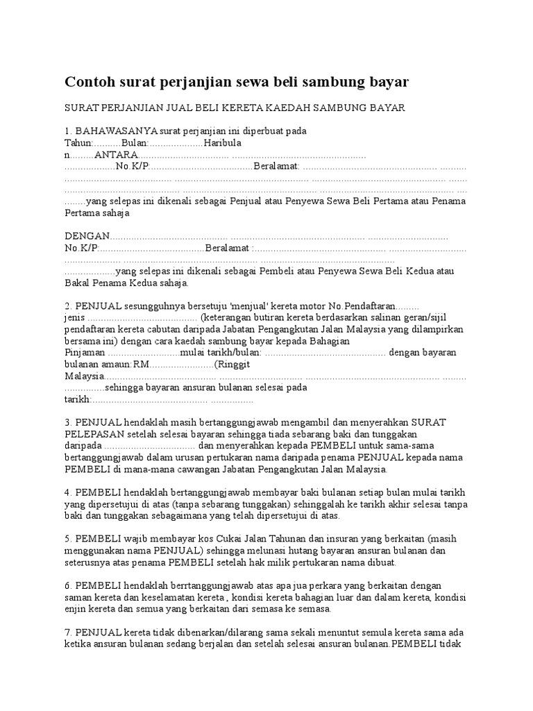 Contoh Surat Perjanjian Sambung Bayar Loan Kereta