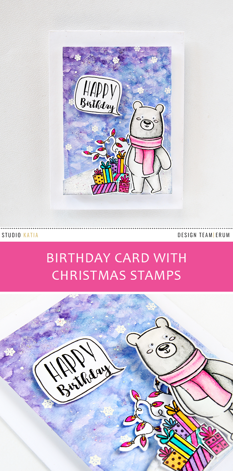 Studio Katia Winter Kobi Stamp Set, a bit of both pencil and watercolouring. Stretch your Christmas stamps | Erum Tasneem | @pr0digy0