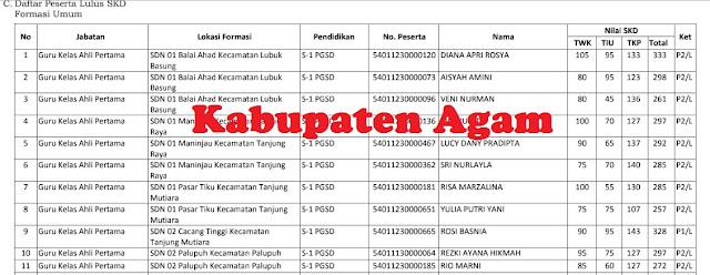 Daftar Nilai SKD dan Peserta SKB CPNS 2018 Kabupaten Agam