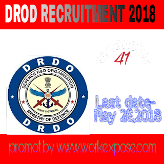 Drdo recruitment 2018 for 41 post