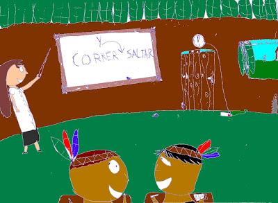 La mestra Hortensia les enseña castellano a los indios