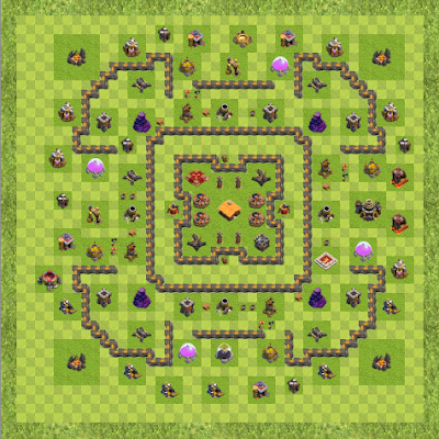 War Base Town Hall Level 9 By ppoulin (War TH 9 Layout)