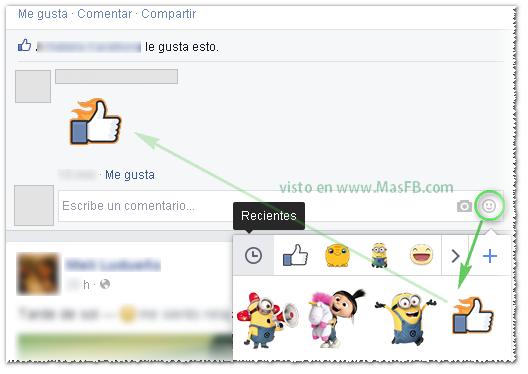 Como agregar sticker en comentarios - MasFB