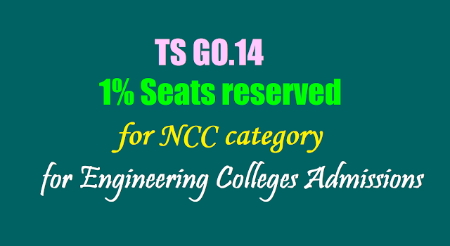 TS EAMCET,GO.14 - 1% Seats reserved for National Cadet Corps for Engineering Colleges Admissions