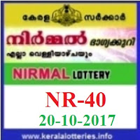 Kerala lottery result of Nirmal Lottery NR-40 on 20-10-2017