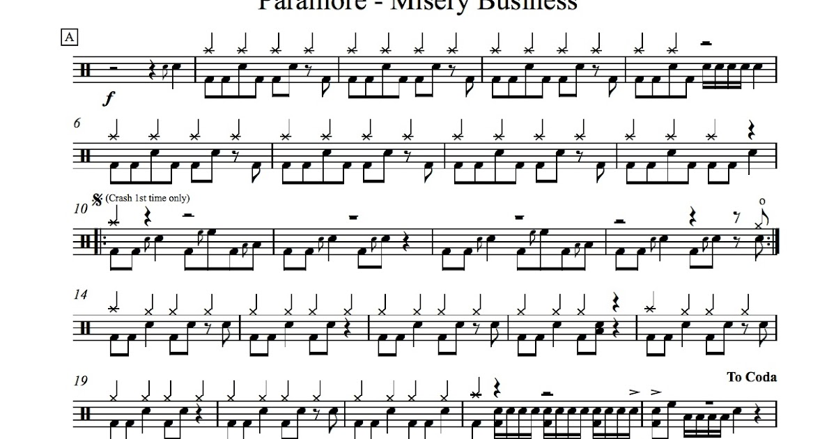 All Music Chords paramore sheet music : Score for Paramore - Misery Business | Academy Drums