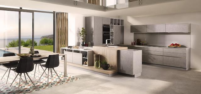Cuisine moderne en U avec façades gris béton sans poignées. Retour design avec composition en bois.