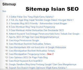 Cara Membuat Daftar isi/Sitemap Di Blogger