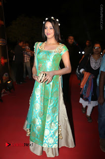 Actress Sanjjanaa Stills in Green Long Dress at Gemini TV Puraskaralu 2016 Event  0061.JPG