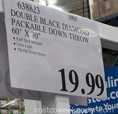 Deal for the Double Black Diamond Packable Down Throw Blanket at Costco