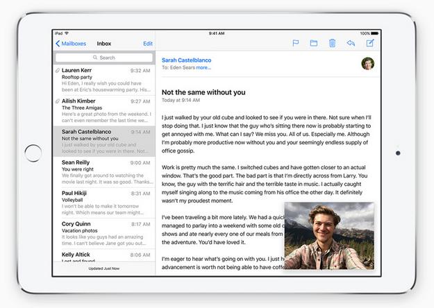 Gambar tampilan iPad iOS 9 dan fitur Picture In Picture terbaru