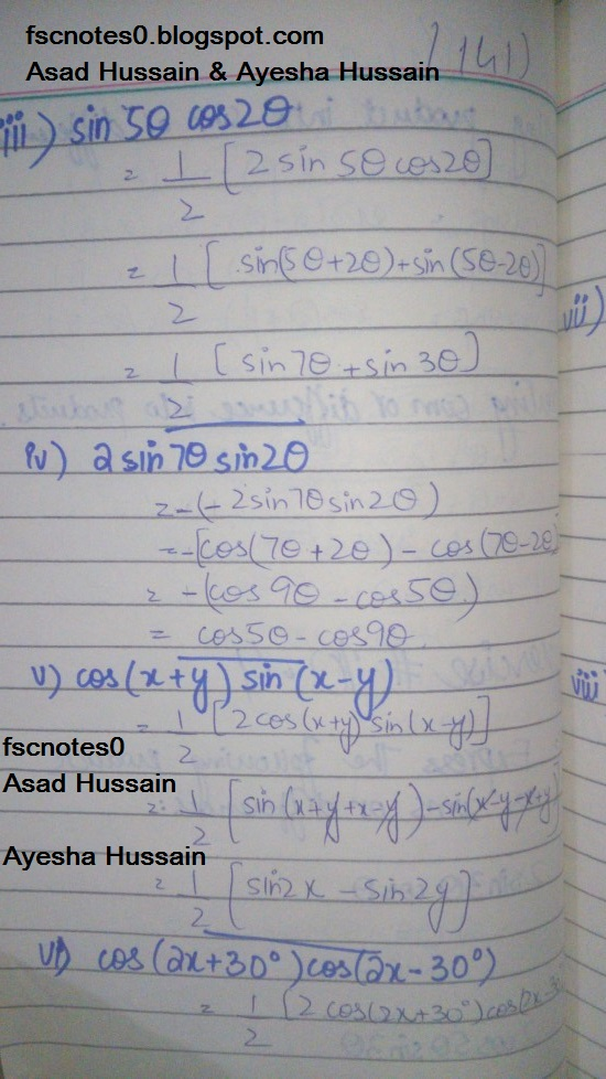 FSc ICS FA Notes Math Part 1 Chapter 10 Trigonometric Identities Exercise 10.4 Question 1 - 2 written by: Asad Hussain & Ayesha Hussain 1