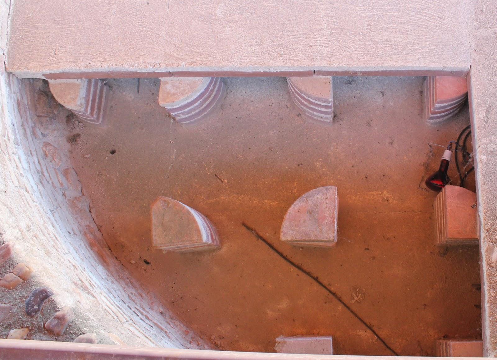 sistema de calefacción romano, hipocausto, yacimiento romano de Carranque