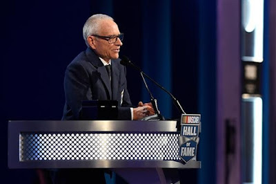 Mark Martin speaks during the NASCAR Hall of Fame Class of 2017 Induction Ceremony.
