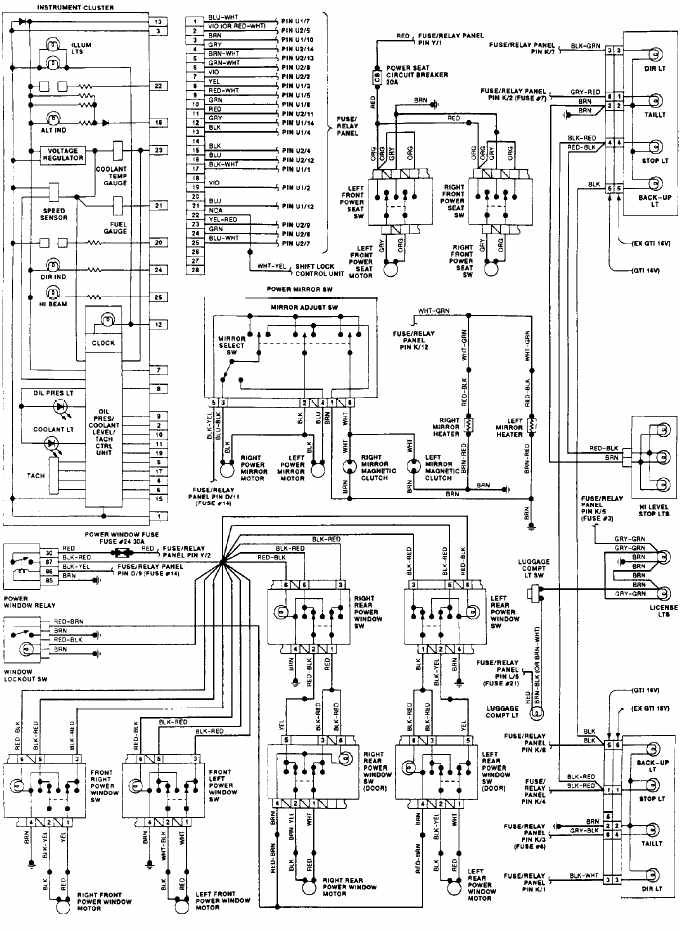 volkswagen gti 1992 instrument panel wiring diagram