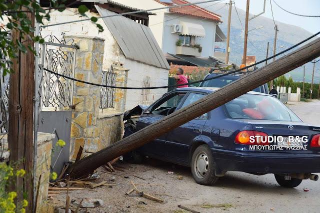 Τροχαίο ατύχημα στο χωριό Ήρα - Χωρίς ρεύμα η περιοχή από πρόσκρουση του αυτοκινήτου σε κολώνα της ΔΕΗ