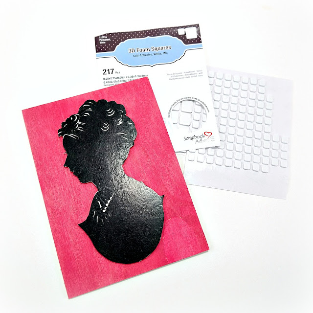 Black Child Silhouette Attached to an Inked Pink Wood Frame Insert with 3D Foam Squares
