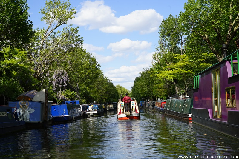 Colourful boats moored in Regents Canal