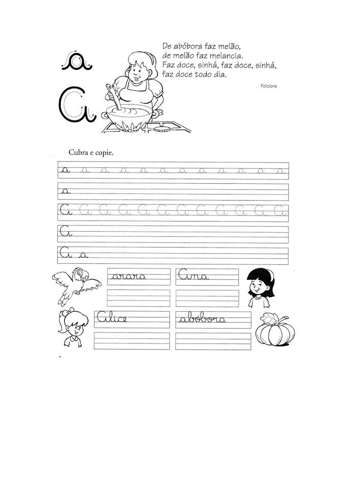 Caligrafia para Imprimir Letra Cursiva.