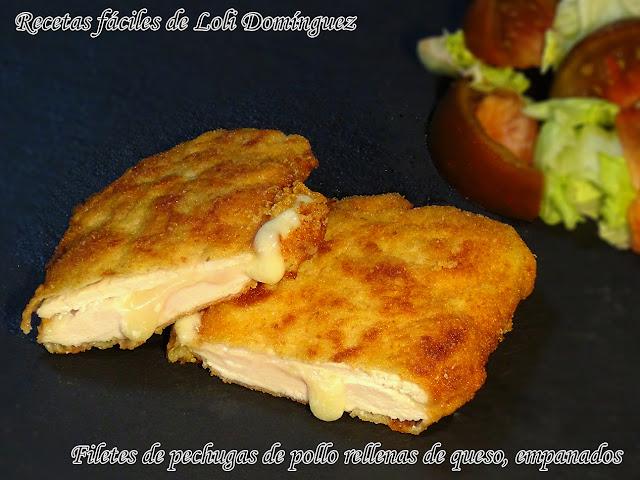 Filetes De Pechugas De Pollo Rellenas De Queso, Empanados