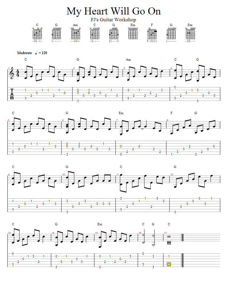 celine dion my heart will go on guitar chords