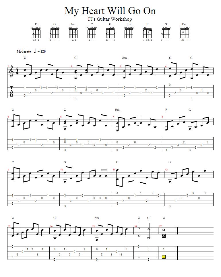 celine dion titanic guitar chords