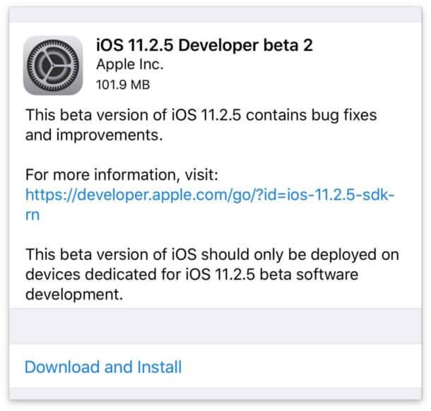 ابل تطلق iOS 11.2.5 Beta 2 للاختبار