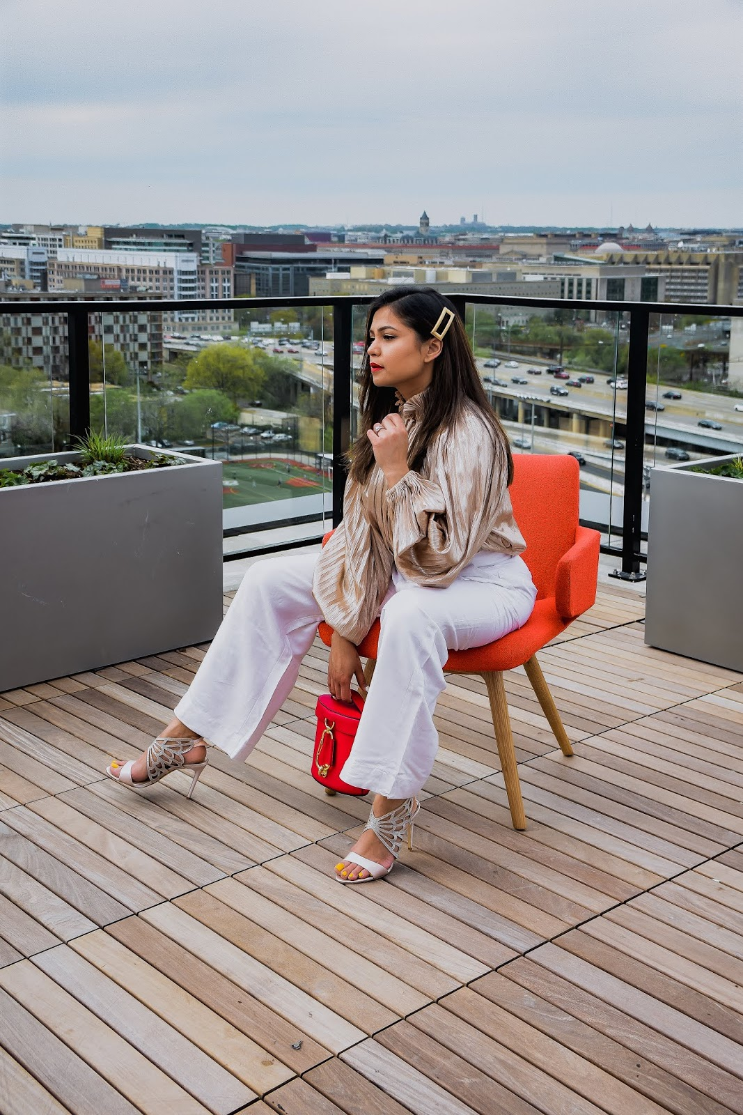 gold blouse, white jeans, party look, weddign guest, ootd, street style, dc blogger, saumya shiohare, myriad musings , rent the runway blouse, whute pants outit, red zac posen bag
