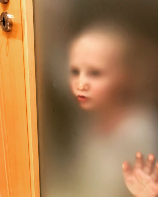 Our Airbnb Had A Translucent Bathroom Door. I'm Used To My Impatient Toddler Stalking Me Through The Bathroom Door, But This Took It To A Much Creepier Level