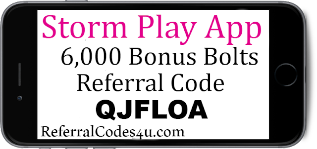 Get 6,000 Bonus Bolts when you download the Storm Play App and enter Referral Code for 2021-2022