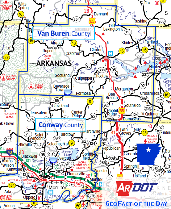Locator map of Beverage Town and Overcup, Arkansas