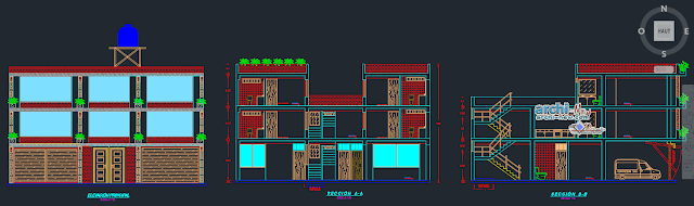 Trade house three levels Dwg